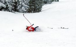 Falling skier Stock Photo