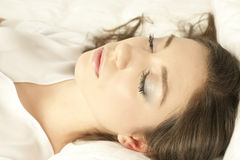 Falling in sleep. Shoot of a young lady while fall in sleep Stock Photography