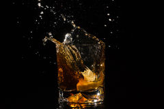 Falling slice of lemon in a glass of whiskey makes very many splashes. Royalty Free Stock Images