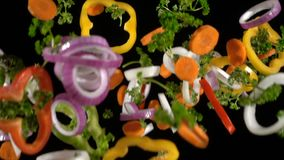 Falling slices of chopped vegetables, slow motion. Falling slices of chopped vegetables isolated on black background, slow motion stock video