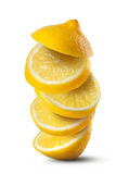 Falling slices of lemon  on white Stock Photo
