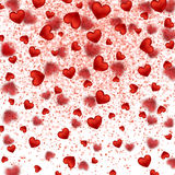 Falling small sparkling red hearts. Shimmer sparkle Frame Border Stock Photos