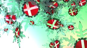 Falling snow background. Denmark flag Royalty Free Stock Photo