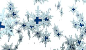 Falling snow background. Finland flag Royalty Free Stock Photos