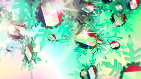 Falling snow background. France flag. Falling snow background. Transparent ice snowflakes on gradient background. Lens flare. France flag textured snowflakes Royalty Free Stock Photo