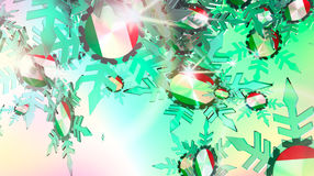 Falling snow background. Italy flag. Falling snow background. Transparent ice snowflakes on gradient background. Lens flare. Italy flag textured snowflakes. New Royalty Free Stock Image