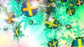 Falling snow background. Sweden flag Stock Images