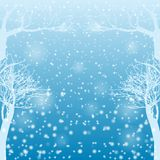 Falling snow with bare trees. Vector illustration Royalty Free Stock Photo