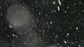 Falling snow at the black background
