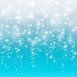 Falling snow on a blue background. Vector illustration 10 EPS. Abstract white glitter snowflake background. Magic Christmas eve sn Stock Images