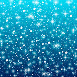 Falling snow on a blue background. Vector illustration 10 EPS. Abstract white glitter snowflake background. Vector magic Christmas Royalty Free Stock Images