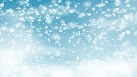 Falling Snow On Blue Sky Holiday Background royalty free illustration
