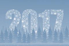 Falling snow. Christmas tree. 2017. Snowflakes. Falling snow vector. White splash on blue background. Winter snowfall hand drawn spray texture. Winter forest Royalty Free Stock Photos