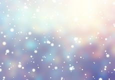 Falling snow decoration background. Christmas tree garland lights blurred texture. Yellow, blue, violet defocused abstract. Stylish image for a variety of design Royalty Free Stock Photography