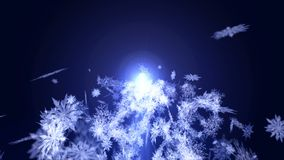 Falling snow effect. Spin of snow crystal. Christmas. Snowflake. Winter season. Snow confetti loop animation. Snow crystal falling. Winter cold animation royalty free illustration