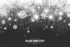 Falling Snow Effect on Transparent Background Vector