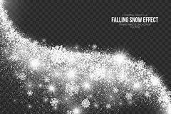 Falling Snow Effect on Transparent Background Vector Stock Photography