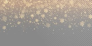 Falling snow flake golden pattern background. Gold snowfall overlay texture isolated on transparent white background. Winter Xmas