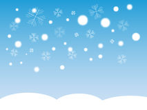 Falling Snow. Flakes and snow on ground Stock Images
