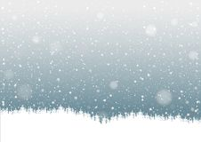 Falling Snow. And Forest Silhouette - Background Illustration, Vector Royalty Free Stock Photo