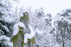 Falling snow at Guanyin statue in a winter with snow. Stock Images