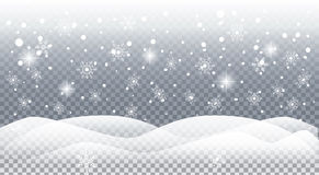 Falling snow snowflakes mountain landscape. Happy New Year and Christmas greeting card snowy background with realistic falling snowflakes, sparkles, light effect Stock Photo