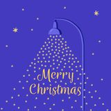 Falling snow lit by a street lamp. Cartoon flat style Christmas card. Night sky with stars. Vector blue background. Purple-blue royalty free illustration