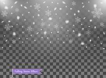 Falling snow, random elements. New year, Christmas decor overlay. Vector illustration on isolated transparent background. Eps vector illustration