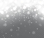 Falling snow with snowflakes on transparent background. Winter snowfall. Holiday Lights Happy New Year and Merry Christmas Stock Photography