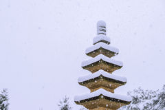 Falling snow at stone statue in a winter with snow. Royalty Free Stock Photos