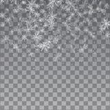 Falling snow on a transparent background. Vector illustration 10 EPS. stock illustration