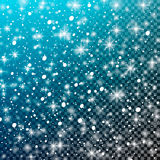 Falling snow on a transparent blue background. Vector illustration 10 EPS. Abstract white glitter snowflake background. Vector mag Royalty Free Stock Image