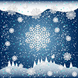 Falling snow vector illustration for winter design. On blue background Stock Photography