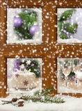 Falling Snow Window Royalty Free Stock Photography