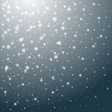 Falling snow winter background. Beautiful snowfall with realistic snowflakes on blue background Stock Images