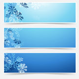 Falling snow winter new year web headers Stock Photos