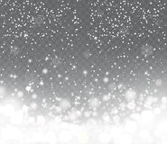 Falling Snow With Snowflakes On Transparent Background. Stock Photo