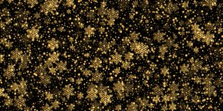Falling snowflake golden pattern background of gold snowfall overlay texture isolated on transparent background. Winter Xmas golde. N snow flake element for Royalty Free Stock Photos