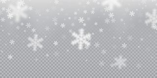 Falling Snowflake Pattern Background Of White Cold Snowfall Overlay Texture On Transparent Background. Winter Xmas Snow F Stock Images