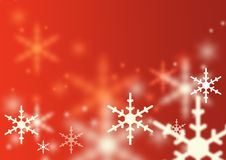 Falling Snowflakes. On a lustre red background Royalty Free Stock Photos