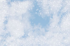 Falling snowflakes on  blue background Stock Images