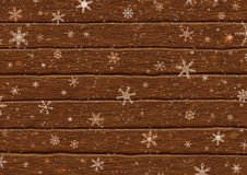 Falling snowflakes on boards. Illustration of falling snowflakes on rustic boards Royalty Free Stock Images