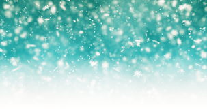 Falling snowflakes and bokeh particles on bright green background. Abstract New Year backdrop. Animation of snowflakes stock footage