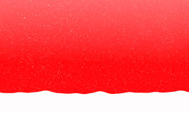 Falling snowflakes on the bright red background. Bright red background with falling snowflakes and snowdrift. Free space for text. Raster illustration Stock Photo