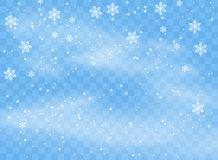 Falling snowflakes flakes on isolated background, Blizzard with wind. Overlay design element. Christmas decoration. Vector. vector illustration
