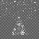 Falling snowflakes on gray background. Christmas fir tree. Merry Christmas holiday celebration. Christmas snow. Snowfall. Winter i. S coming Stock Photography