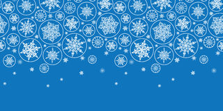 Falling Snowflakes Horizontal Border Seamless Stock Photography