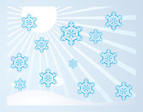 Falling snowflakes in the sun Stock Image