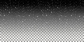 Falling snowflakes on a transparent background. Snowfall vector illustration. royalty free illustration