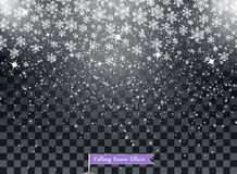 Falling snowflakes on a transparent dark background. Overlay. Winter decoration for New Year and Christmas holiday. Vector. Falling snowflakes on a transparent royalty free stock images